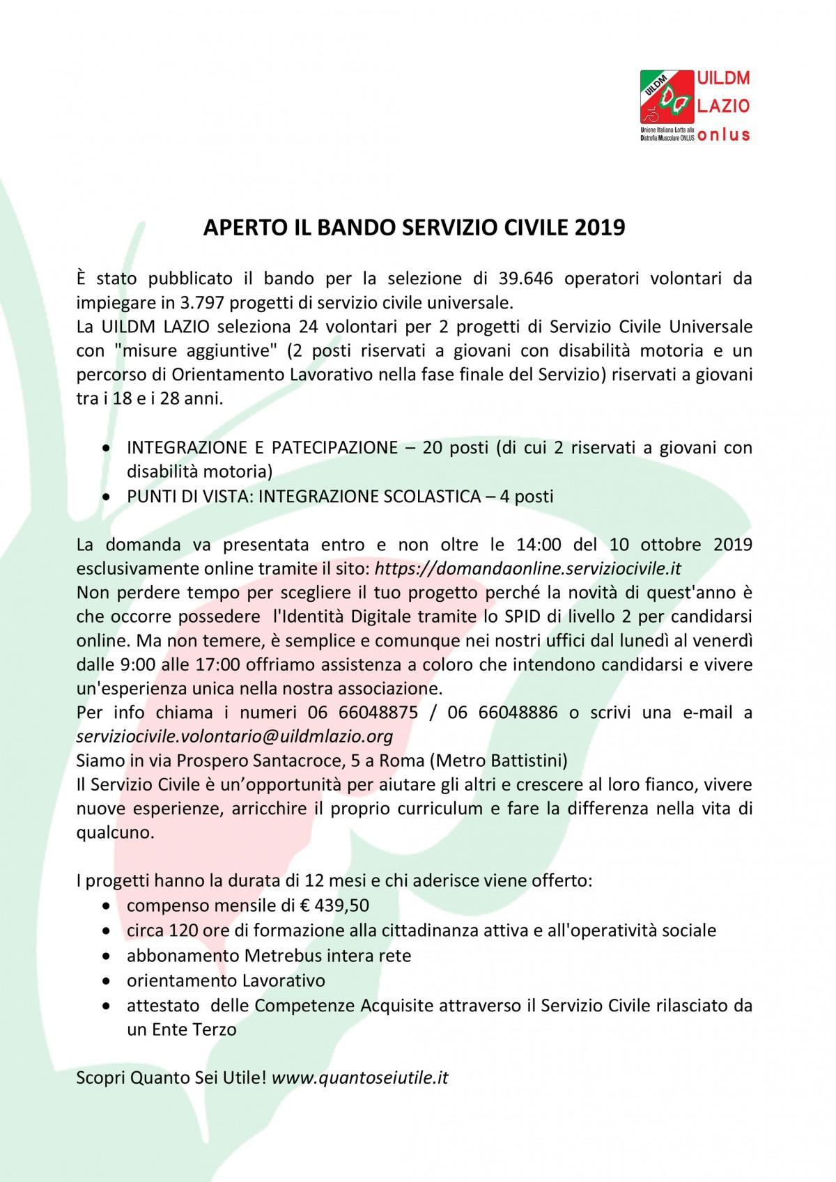 APERTO-IL-BANDO-SERVIZIO-CIVILE-2019