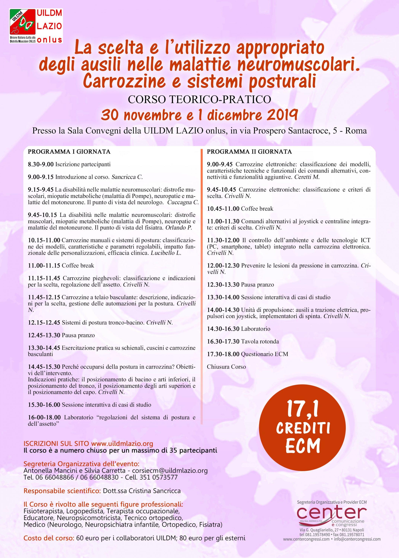 Corso teorico-pratico UILDM Lazio Onlus La scelta e l'utilizzo appropriato degli ausili nelle malattie neuromuscolari-carrozzine e sistemi posturali.